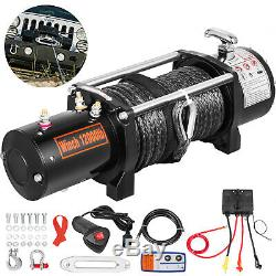 12000LBS 12V Electric Winch Synthetic Cable Truck Trailer Towing Off Road 4WD