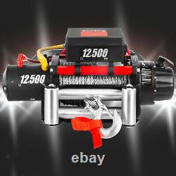 12500LBS 12V Electric Winch Steel Cable 85FT Truck Trailer Towing Off-Road ATV