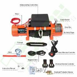 13000LBS 12V Electric Winch Waterproof Truck Trailer Synthetic Rope 4WD