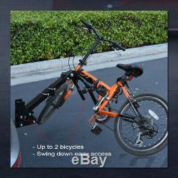 2-Bike Trailer Tow Hitch Mount Bicyle Rack Adjustable Foldable Carrier Kit GT15