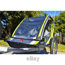 2-Child Bike Deluxe Trailer Kids Stroller Carrier Pull Cart Bicycle Attachment