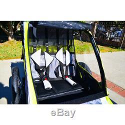 2-Child Bike Trailer Deluxe Folding Pull Cart Lightweight Outdoor Ride Durable