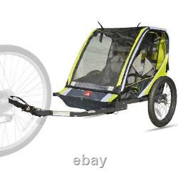 2 Child Bike Trailer Kids Stroller Carrier Bicycle Pull Cart Cargo Toy Transport
