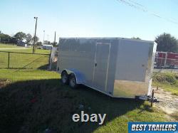2021 7 x 16 cargo silver New enclosed cargo motorcycle trailer deluxe 7x16