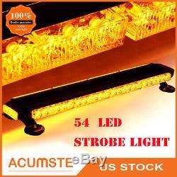 26 54 LED Emergency Traffic Advisor Double Side Warning Strobe Light Bar Amber