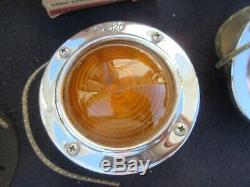 3 NOS KD FLUSH MOUNT MARKER LIGHT GLASS LENS Vintage LAMP ford dodge chevy truck