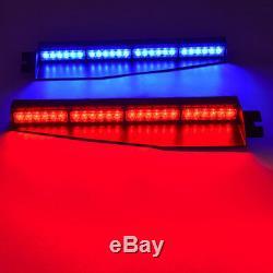 34 48 LED Amber Red Blue Emergency Warning Traffic Visor Dash Strobe Light Bar