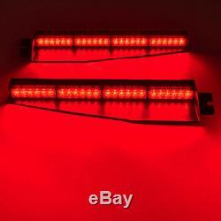 34 48 LED White Red Amber Emergency Traffic Warning Visor Dash Strobe Light Bar