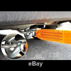 3PC 13FT (2 X 13') Yellow Rope Heavy Duty Tow Strap Hooks 10K Lb 5 Ton Capacity