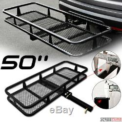 50 Blk Mesh Steel Fold Up Bumper Mount Hitch Cargo Basket For 2x2 Receiver SL