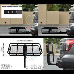 59 Blk Mesh Folding Trailer Hitch Cargo Carrier Rack Basket For 2 Receiver C14