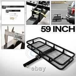 59 Blk Mesh Folding Trailer Hitch Cargo Carrier Rack Basket For 2 Receiver C16