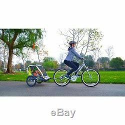 Allen Sport Deluxe 2-Child Bike Trailer Outdoor Kids Safe Fun Play Green Durable