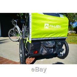 Allen Sports Deluxe 2-Child Bike Trailer, Folding Design 16 Steel Wheels, Green