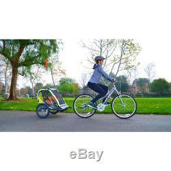 Allen Sports Deluxe 2-Child Bike Trailer Green Folding Design 16 Steel Wheels