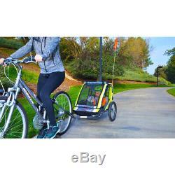 Allen Sports Deluxe 2-Child Bike Trailer Green Kids Transport Toys Fun Outdoor