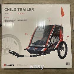 Allen Sports Deluxe 2-Child Bike Trailer Red Folding Design 16 Steel Wheels