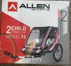 Allen Sports Deluxe Steel 2 Child Bicycle Trailer, T2 Red
