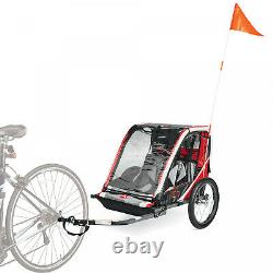 Allen Sports Deluxe Steel 2-Child Bicycle Trailer with Foot Bar and Safety Flag