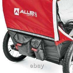 Allen Sports Deluxe Steel Red 2-Child Bicycle Trailer Buggy wBug Rain Shield NEW