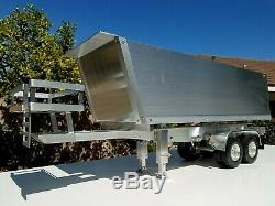 Aluminum Motor power Lift Dump Bed Trailer for Tamiya RC 1/14 King Grand Hauler