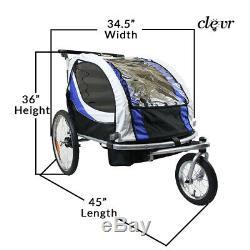 Clevr Deluxe 3-in-1 Bike Trailer Stroller Jogger for Kids, Blue