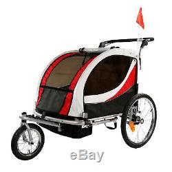 Clevr Deluxe 3-in-1 Double Seat Bike Trailer Stroller Jogger for Kids, Red