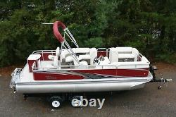 Closeout Model-New 20 ft rear fish pontoon boat with motor and trailer
