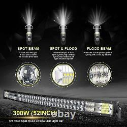 Curved 52inch 5D LED Light Bar Flood Spot Roof Driving Truck RZR SUV ATV 50'