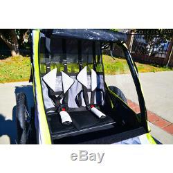 Deluxe 2-Child Bike Trailer Lightweight Folding Pull Cart Transport Outdoor Ride
