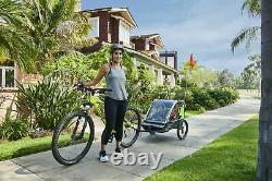 Deluxe 3 Wheel 2-Child Convertible Foldable Pull Push Bicycle Trailer & Strolle