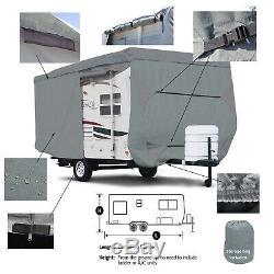 Deluxe Trailer Traveler Camper RV Cover Fits 25'- 26'L with Zipper Door Access