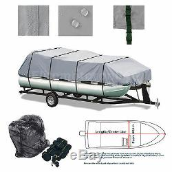 Deluxe Trailerable Pontoon boat Storage cover Grey Fits 21' 22' 23' 24' L