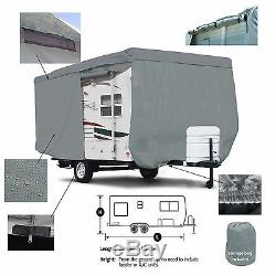 Deluxe Travel Camper Trailer RV Cover Fits 13.5'L Body withZipper door Access