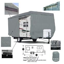 Deluxe Travel Camper Trailer RV Cover Fits 16'L Body withZipper door Access