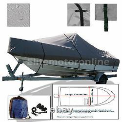 Deluxe V-Hull cuddy cabin Cruiser trailerable boat cover fits 21'-22.5'L Grey
