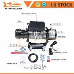 Electric Recovery Winch Towing 12000LBS Truck Trailer SUV Steel Cable Off Road