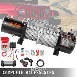 Electric Winch 9500LBS 12V 85FT Steel Cable Truck Trailer Towing Off Road 4WD