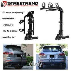 Hitch Mount Bike Rack 2-Bicycle Style Adjustable Foldable Trailer Carrier 2 SD