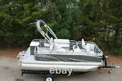 New 1675 sport quad fish pontoon boat with 25 hp and trailer