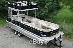 New 2785 triple tube Grand Island Funship pontoon boat with 150 and trailer
