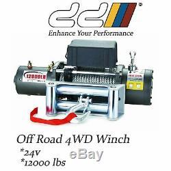 New DD 12000LB 24V Recovery Electric Winch Wireless Remote Trailer 4WD SUV Jeep
