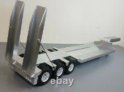 Toy Aluminum Tamiya 1/14 Scale 3-Axle Low Boy Rider Flatbed Deck Ramp Trailer