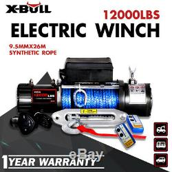 X-BULL 12000LBS Electric Winch Synthetic Rope Trailer Jeep Towing Truck Off Road
